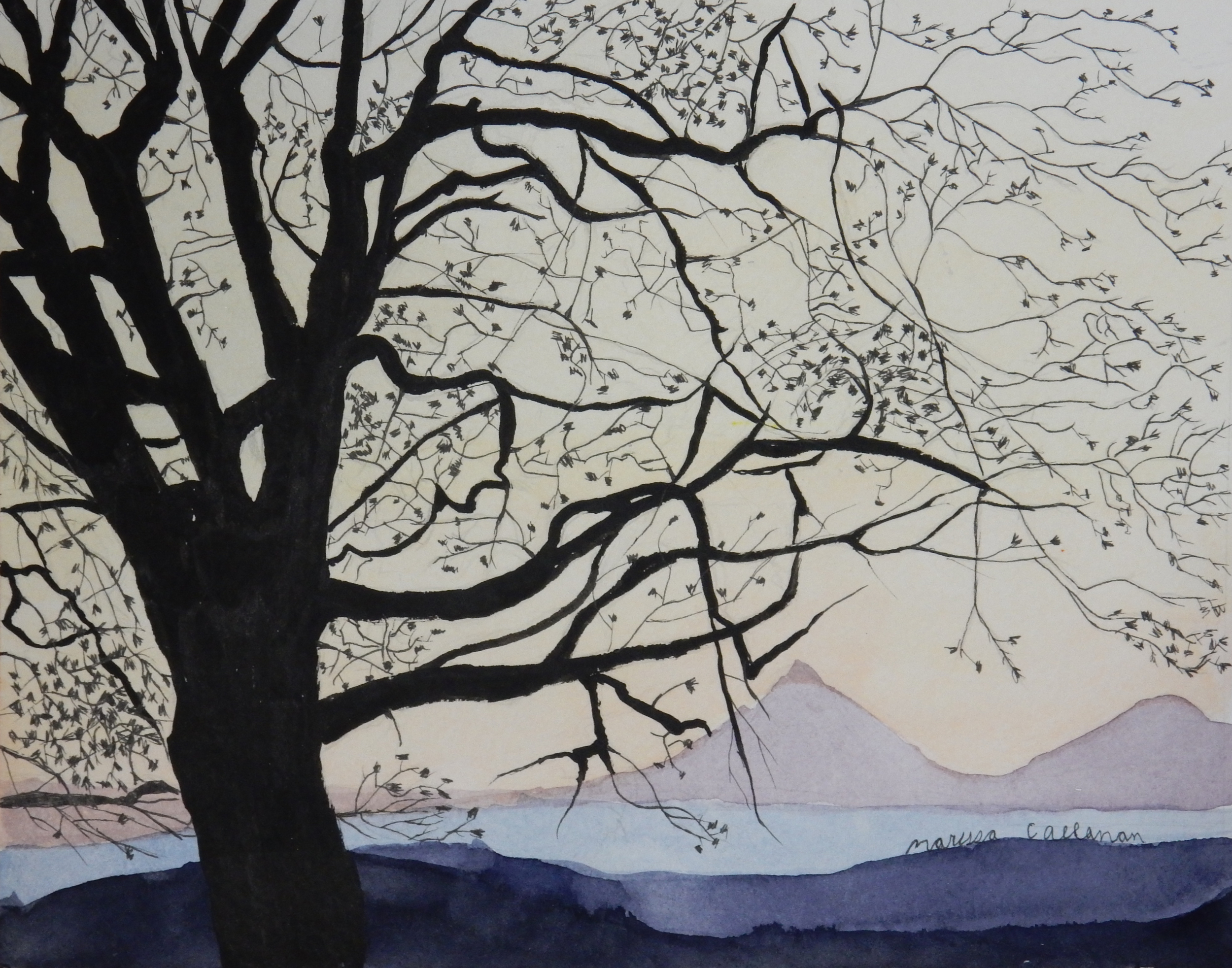 Marissa Callanan.15yrs.watercolor.Tree at Sunset