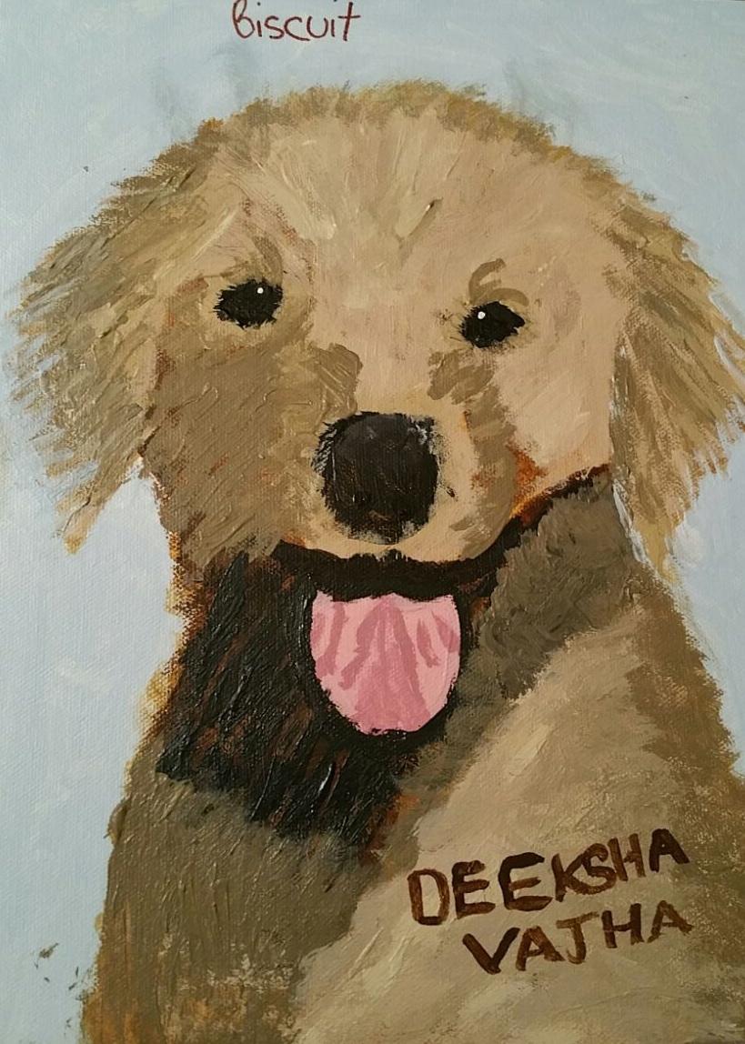 Deeksha Vajha.3rd grade.acrylic.My Dog Biscuit