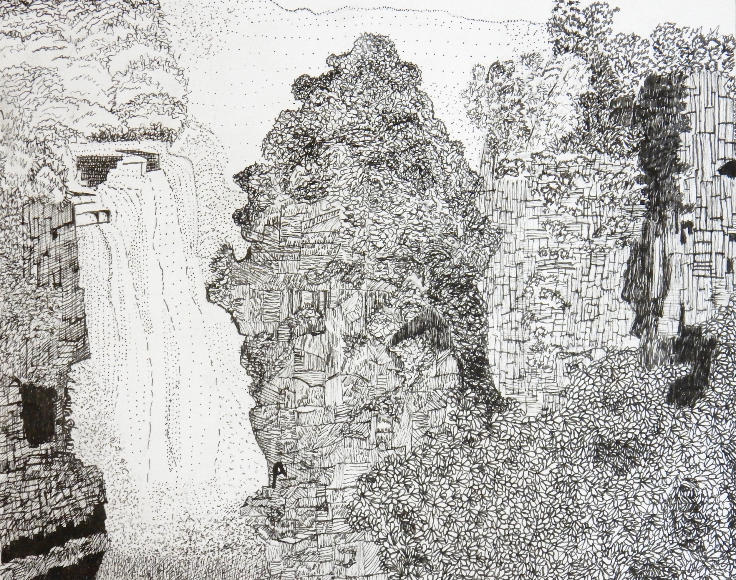Laura Shaw.16yrs.pen & ink.waterfall