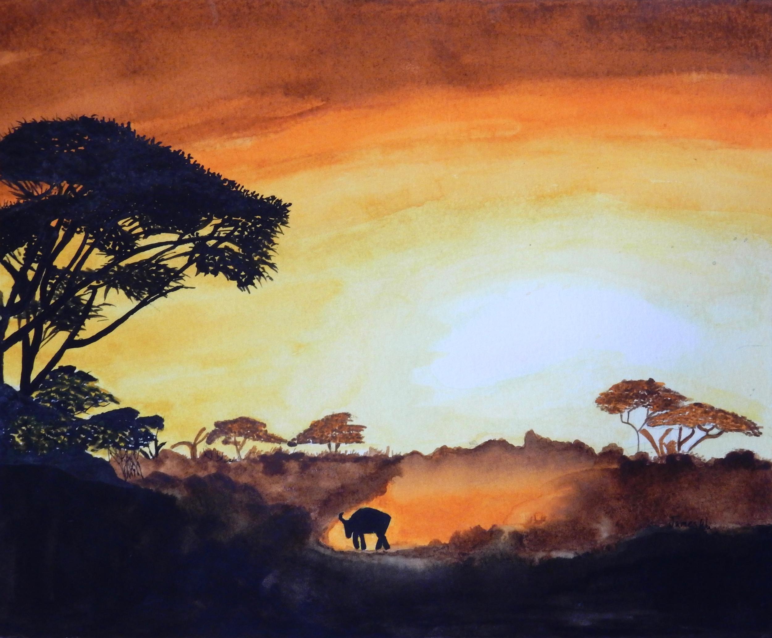 James Wu.12yrs.watercolor landscape