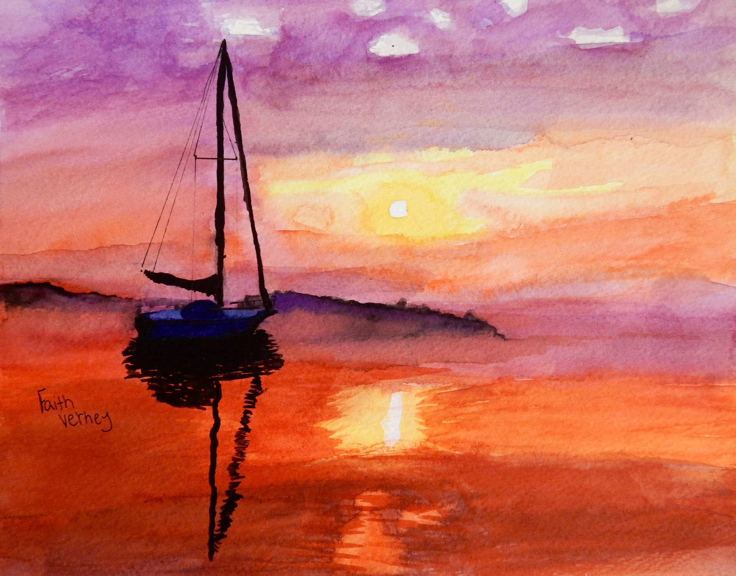 Faith Verney.15yrs.watercolor.Sailing at Sunset