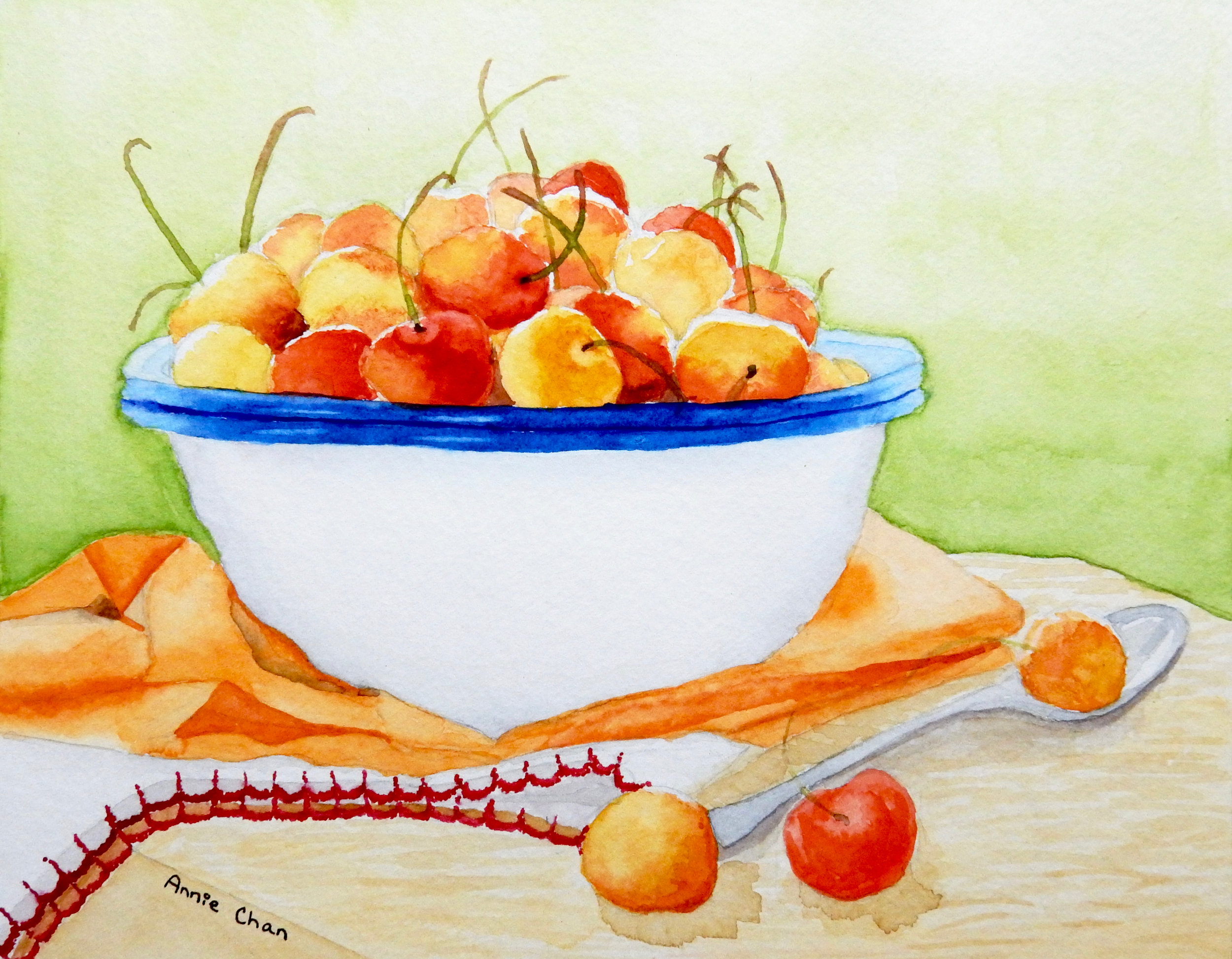 Annie Chan.6th grade.Bowl of Cherries.watercolor