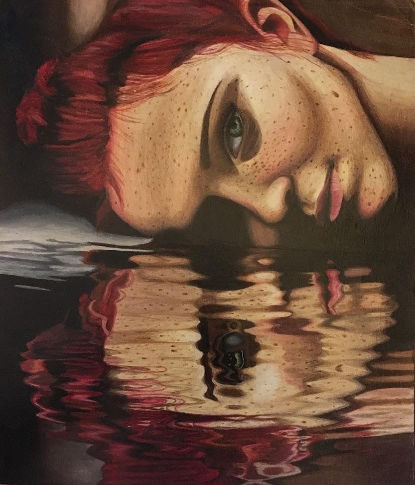 Rachel Mancour 'Who Am I?'colored pencil. Top Ten Award