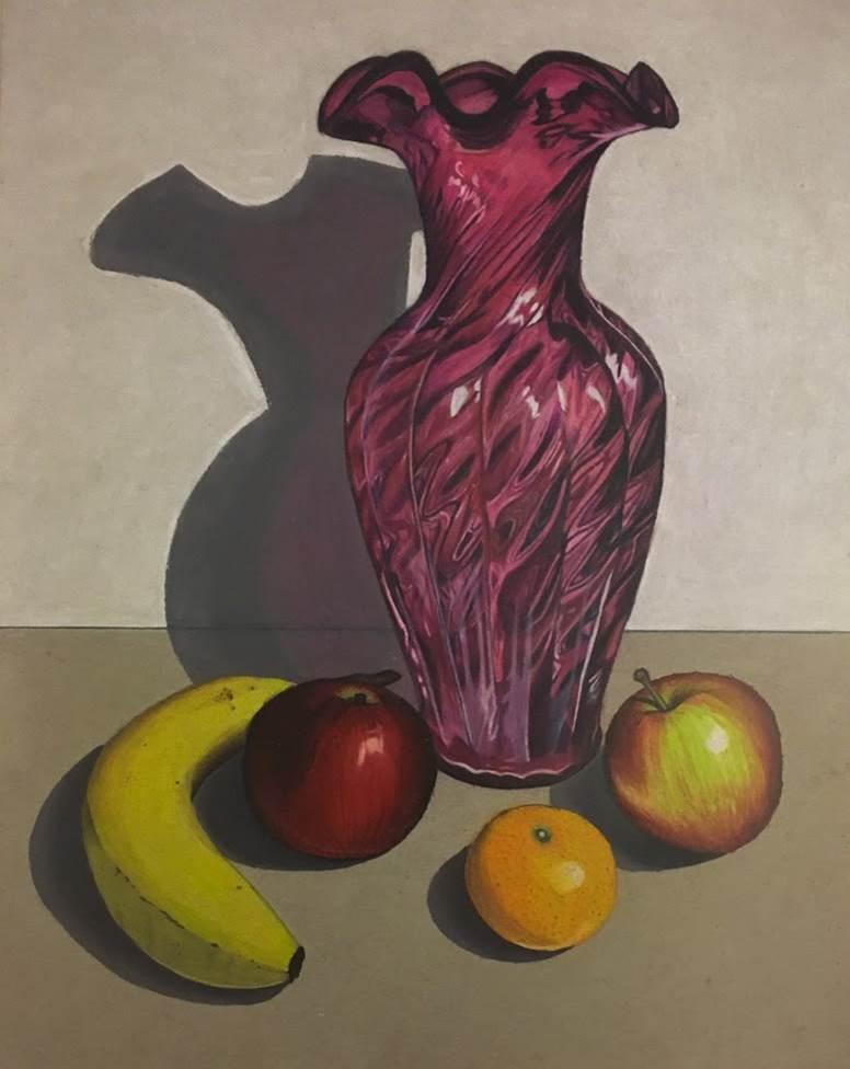 Rachel Mancour.'Vase and Fruit'colored pencil & firm pastels.9x12