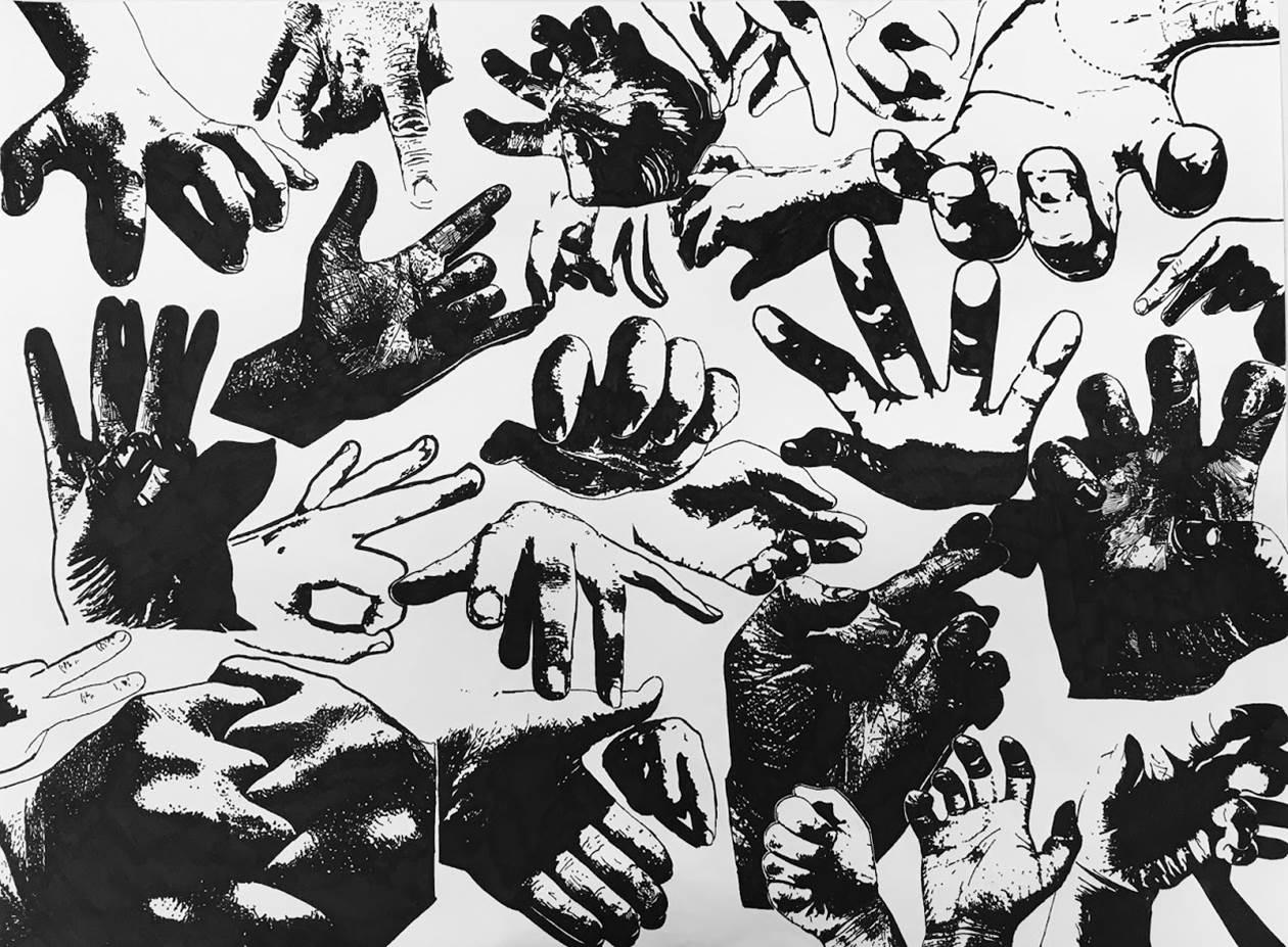 Rachel Mancour.'Show of Hands'pen & ink.16x20
