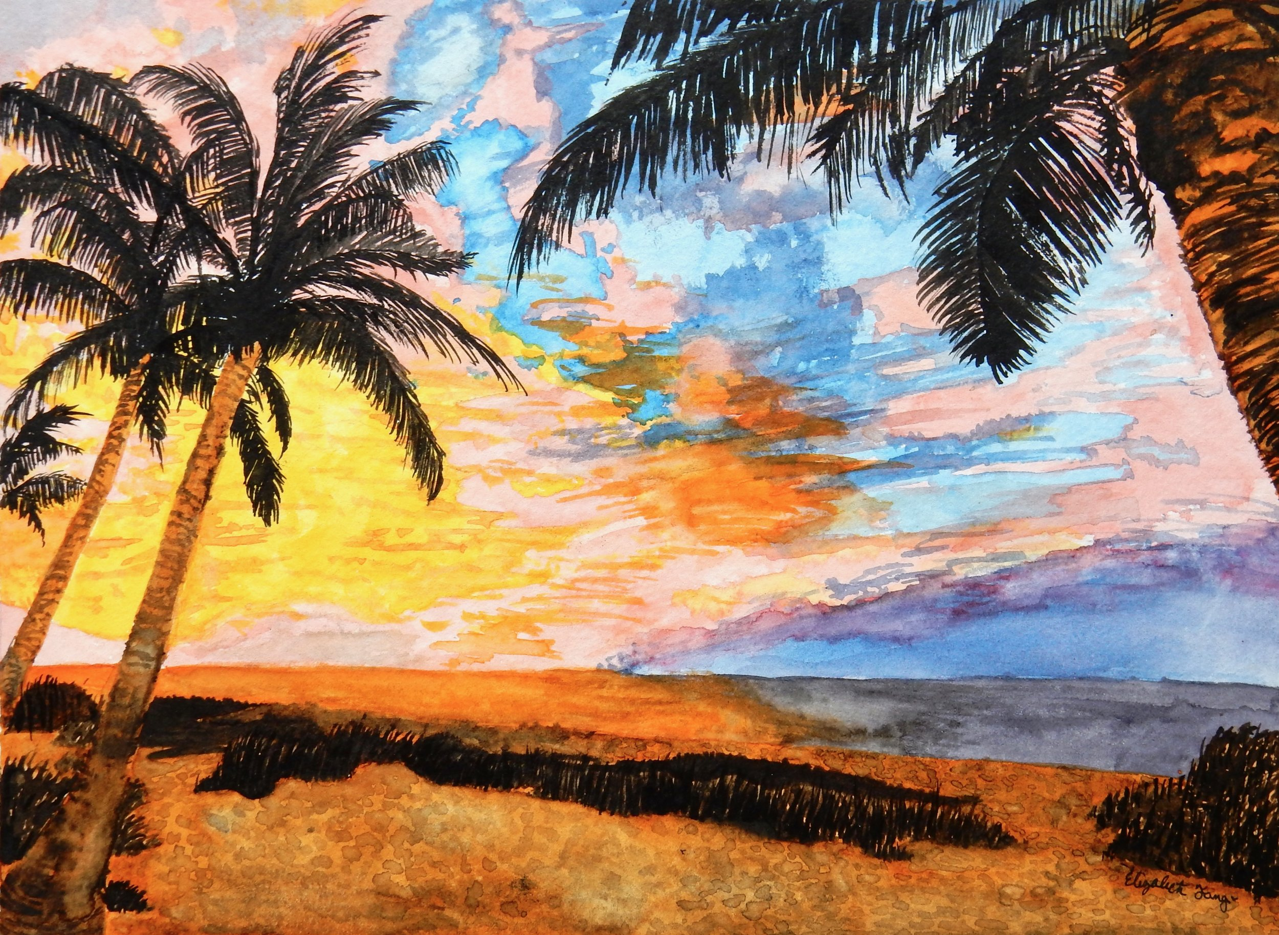 Elizabeth Tang.7th grade.Sunset.watercolor