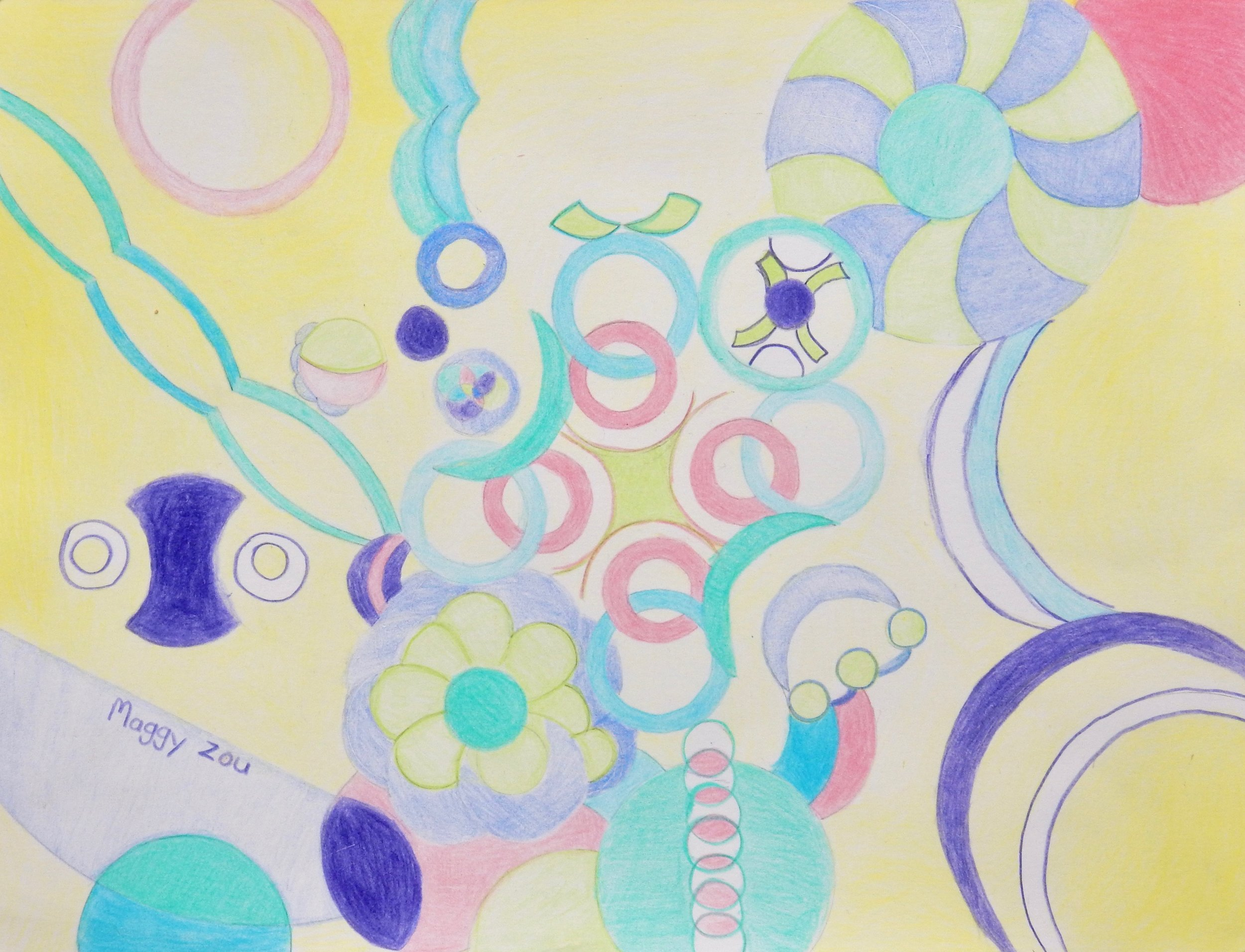Maggy Zou.10yrs.Circles in colored pencil