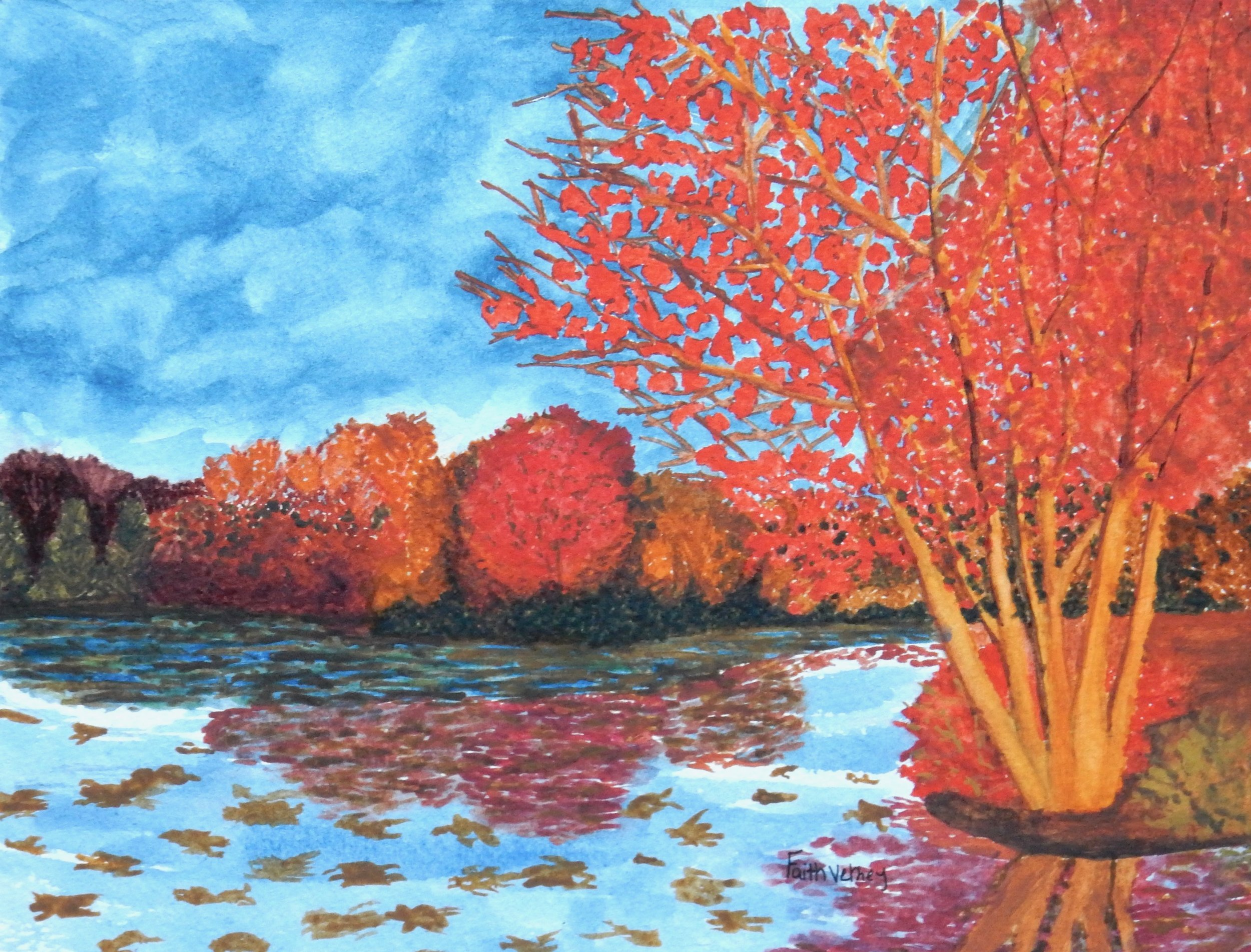 Faith Verney. 17 yrs. 12th grade.watercolor. The Pinnacle of Fall