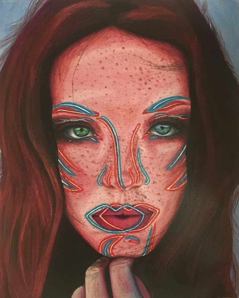 Colored Pencil Reflected Women. Rachel Mancour