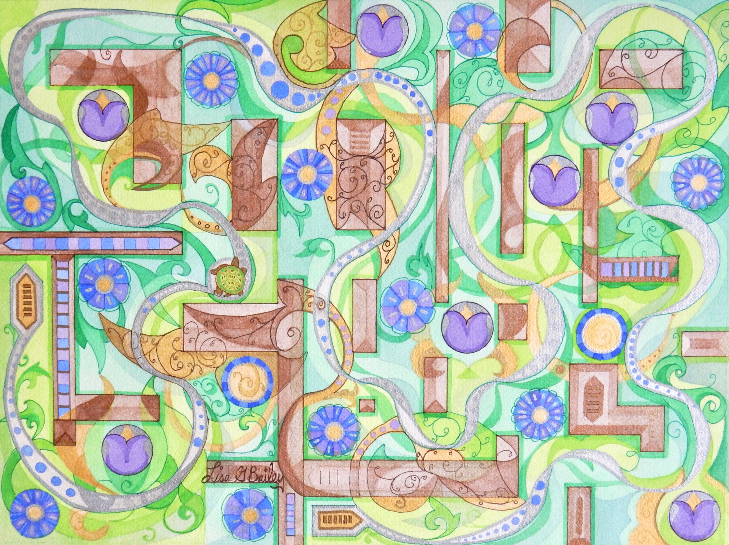 Lisa G Bailey. watercolor and pen. 'Labyrinth'