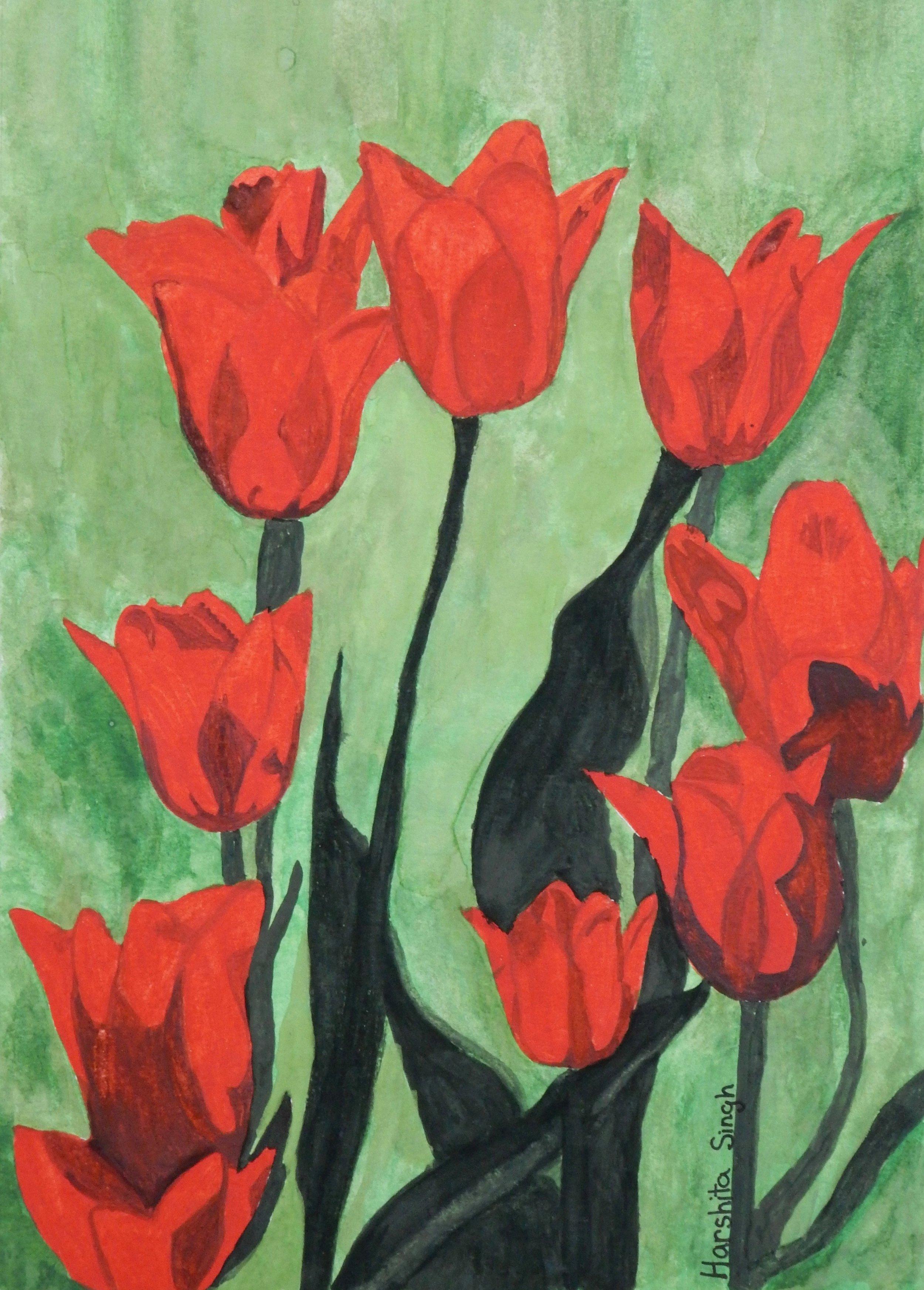 Harshita Singh.11 yrs.watercolor.Tulips