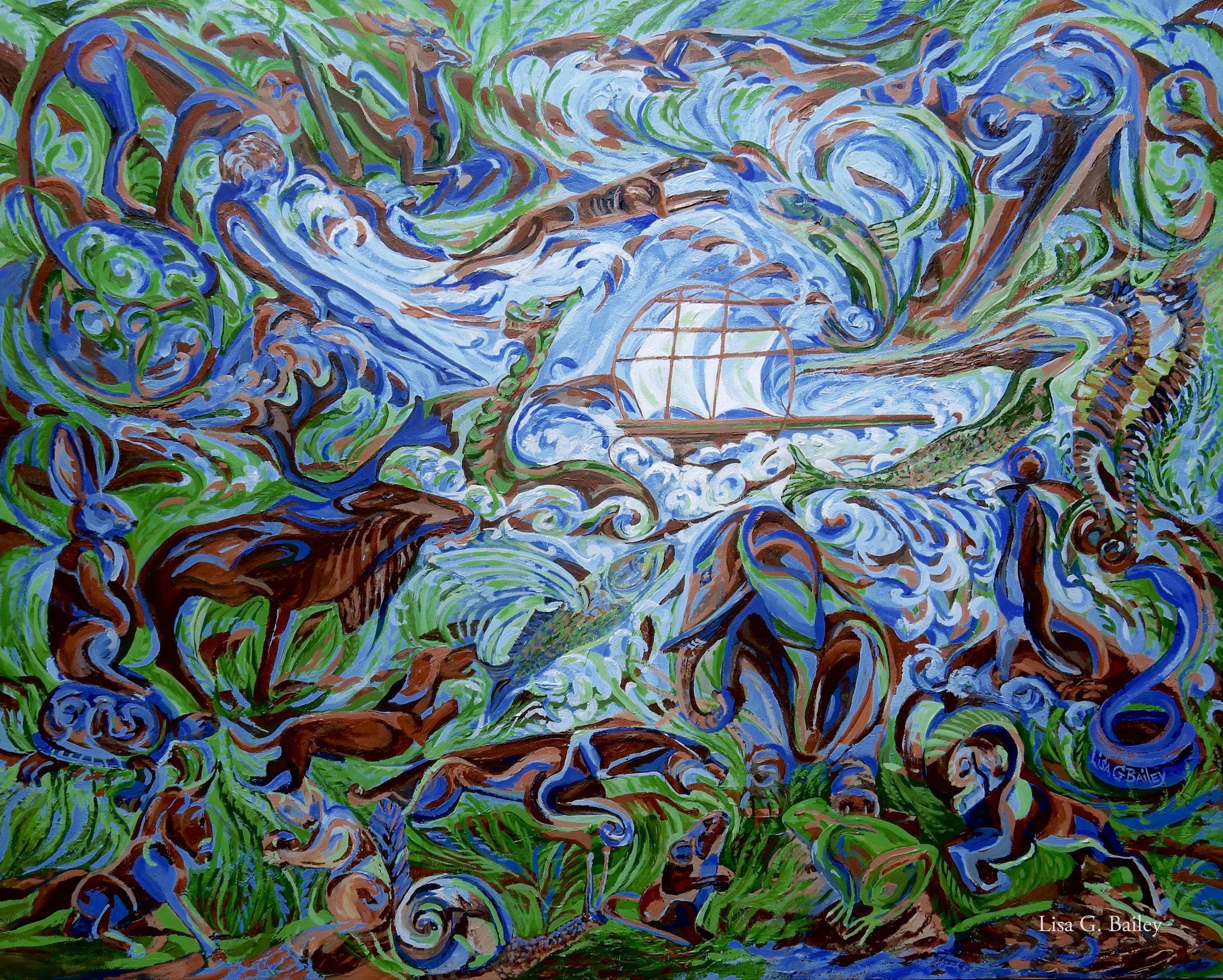 Lisa G Bailey.acyrlic.Tales of Land & Sea