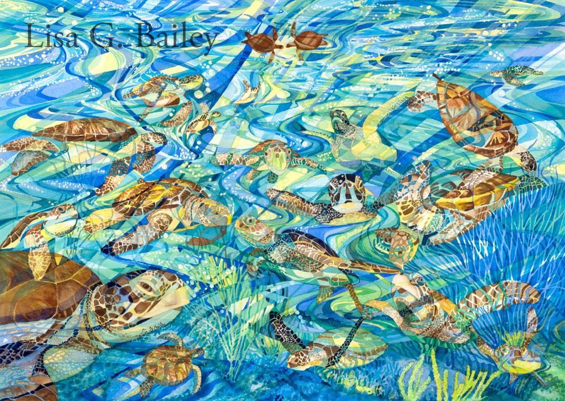 Lisa G Bailey.colorweave watercolor 'Turtle Turtle'. available as a Giclee print for $150.