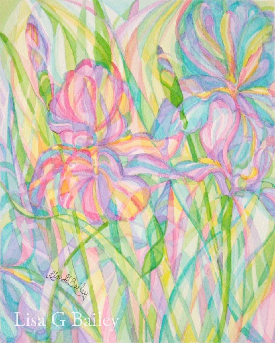 Lisa G Bailey. Iris. colorweave watercolor