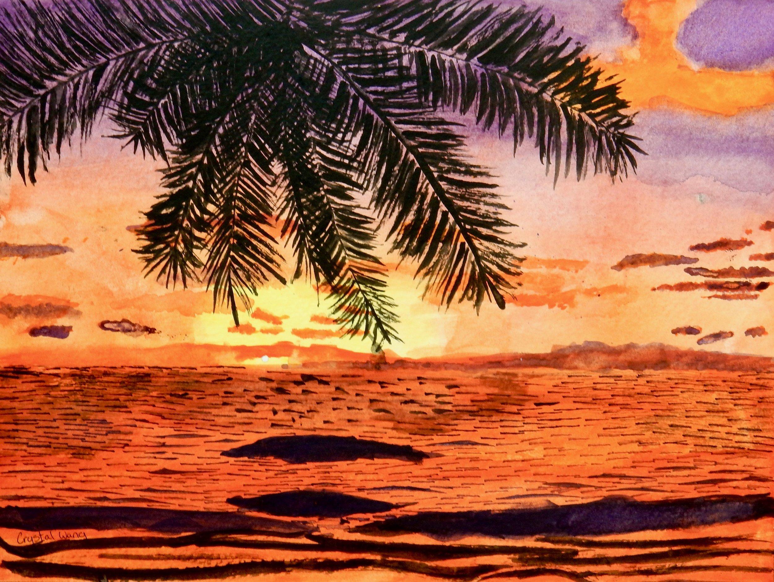 Crystal Wang.5th grade.watercolor.Aloha