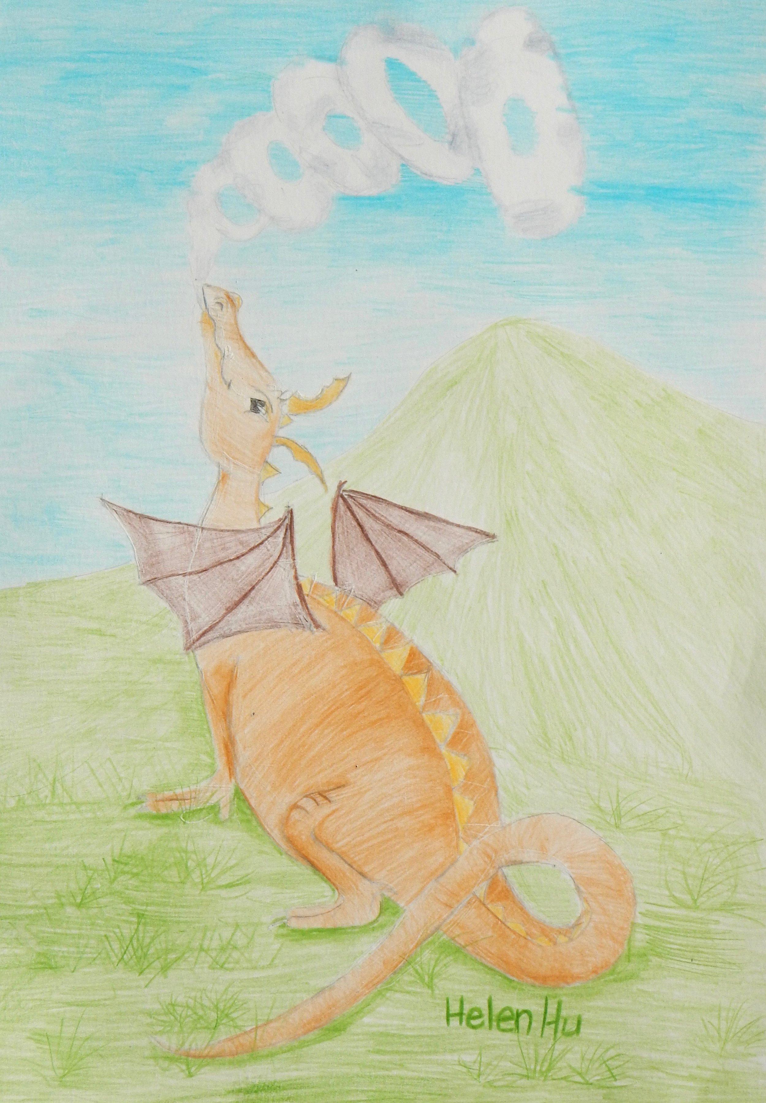 Helen Hu.3rd grade.colored pencil.Dragons Pride