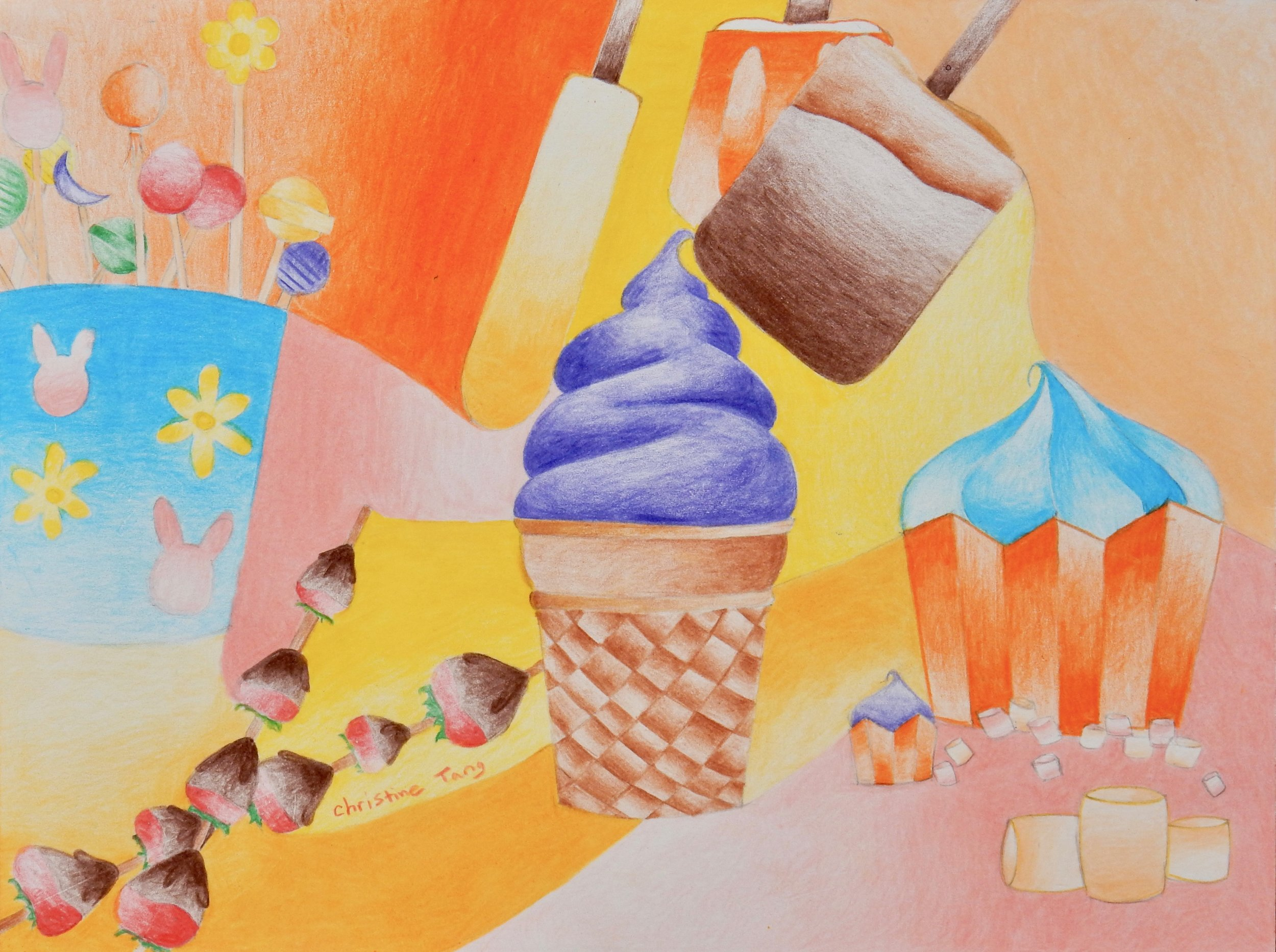 Christine Tang.7th grade.colored pencil.Sweets