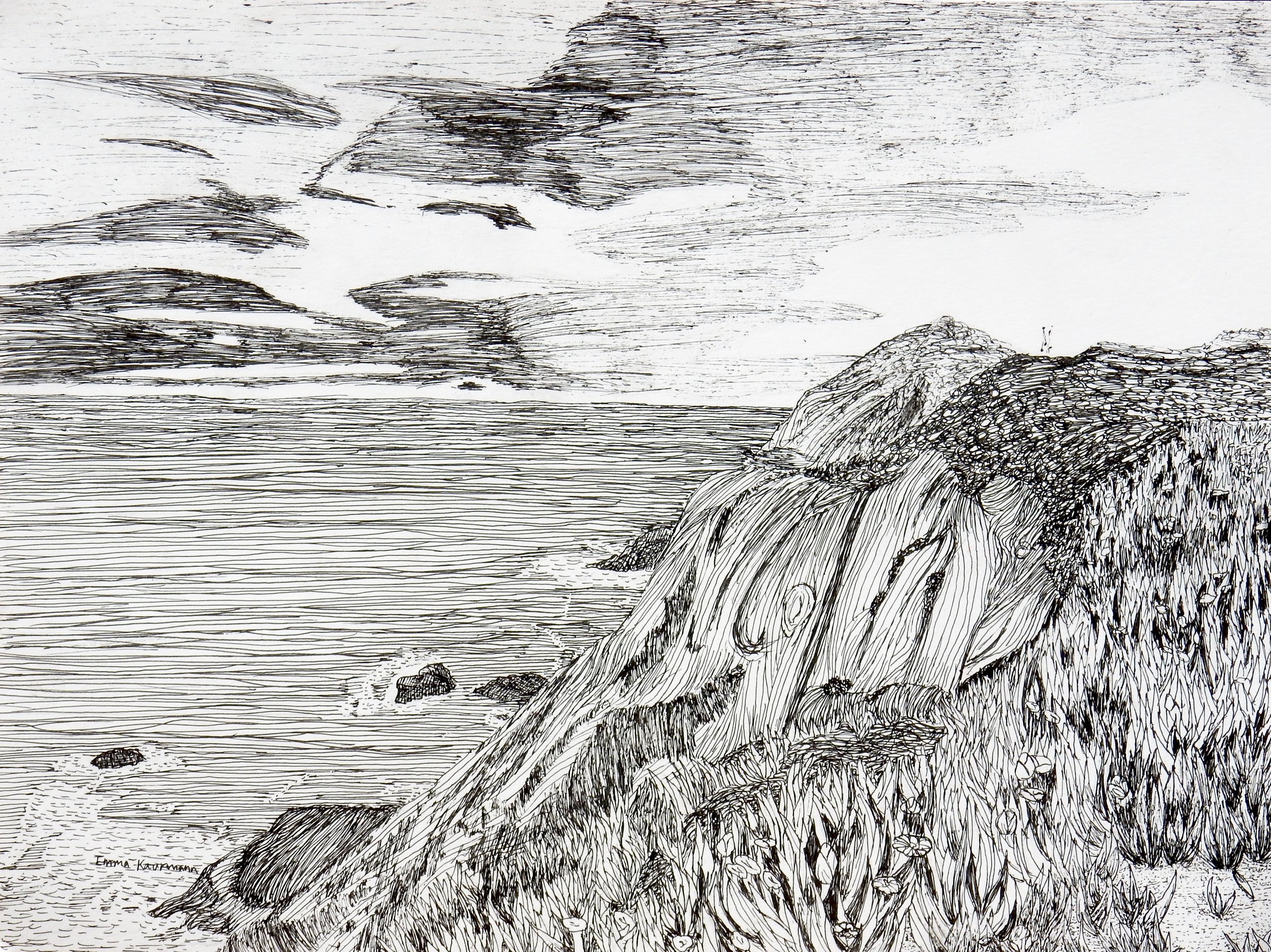 Emma Kaufmann.9th grade.pen & ink.Cliff Meets the Sea