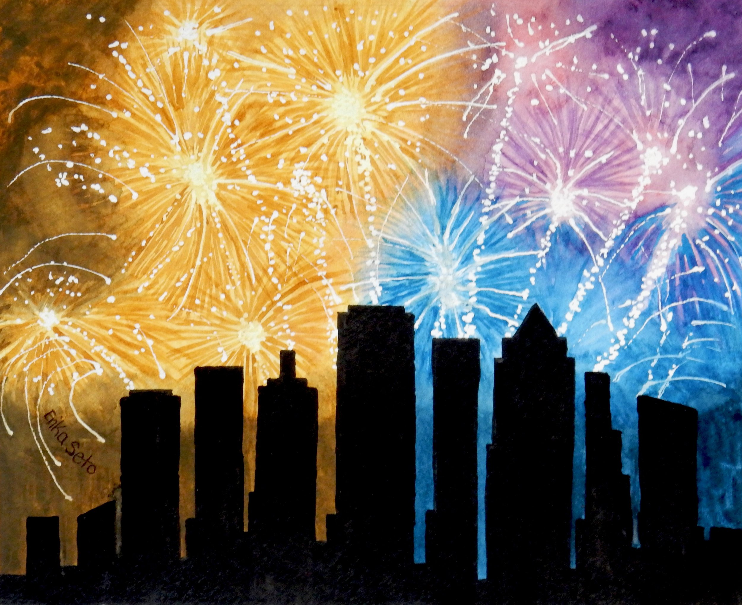 Erika Seto. adult student.watercolor. Fireworks