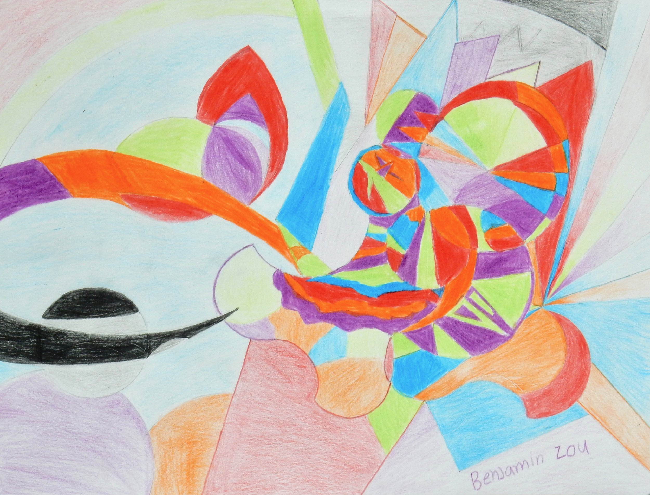 Benjamin Zou.10 yrs.markers and colored pencil abstract