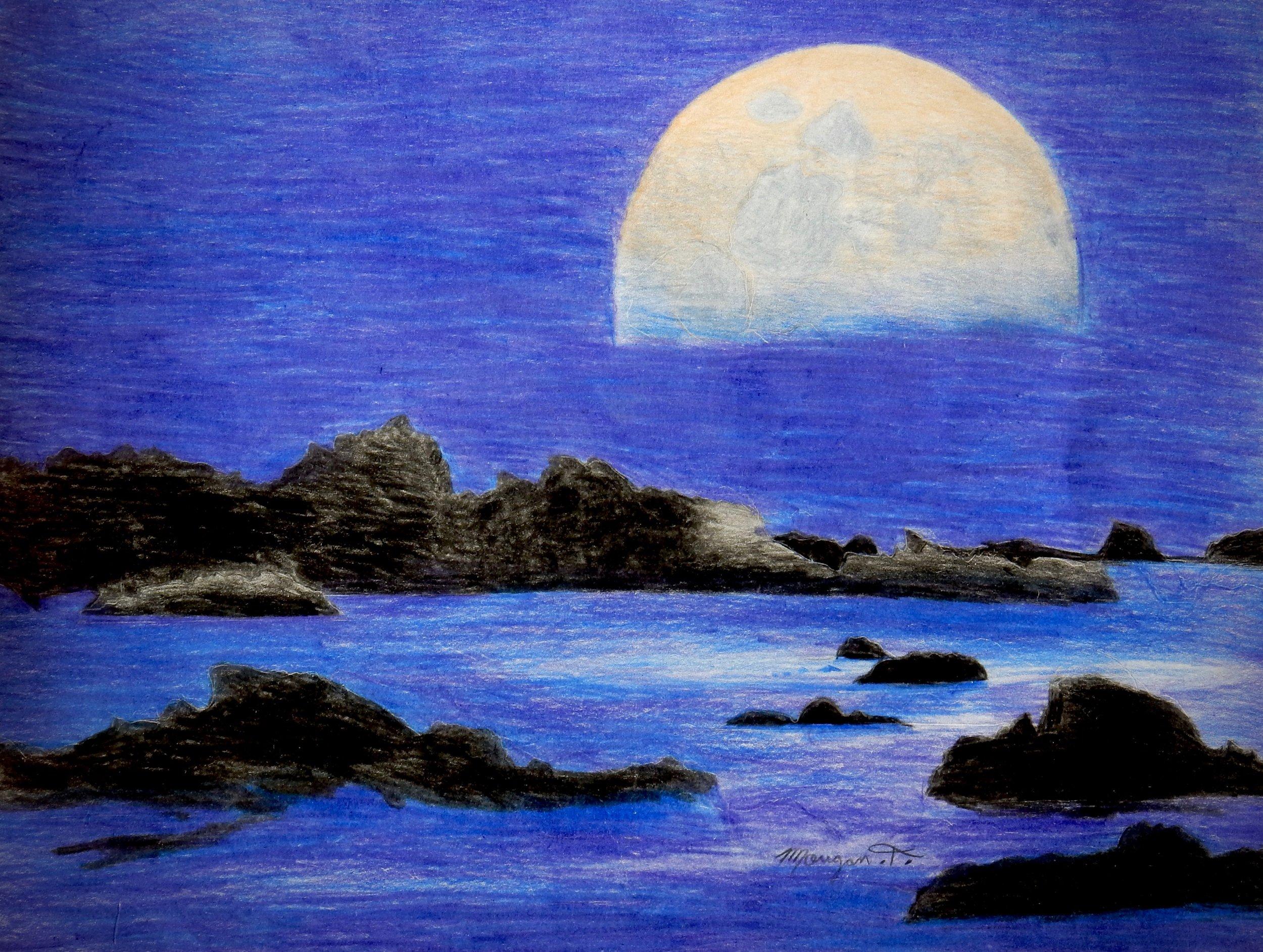 Morgan Trulby.colored pencil. Moonlight