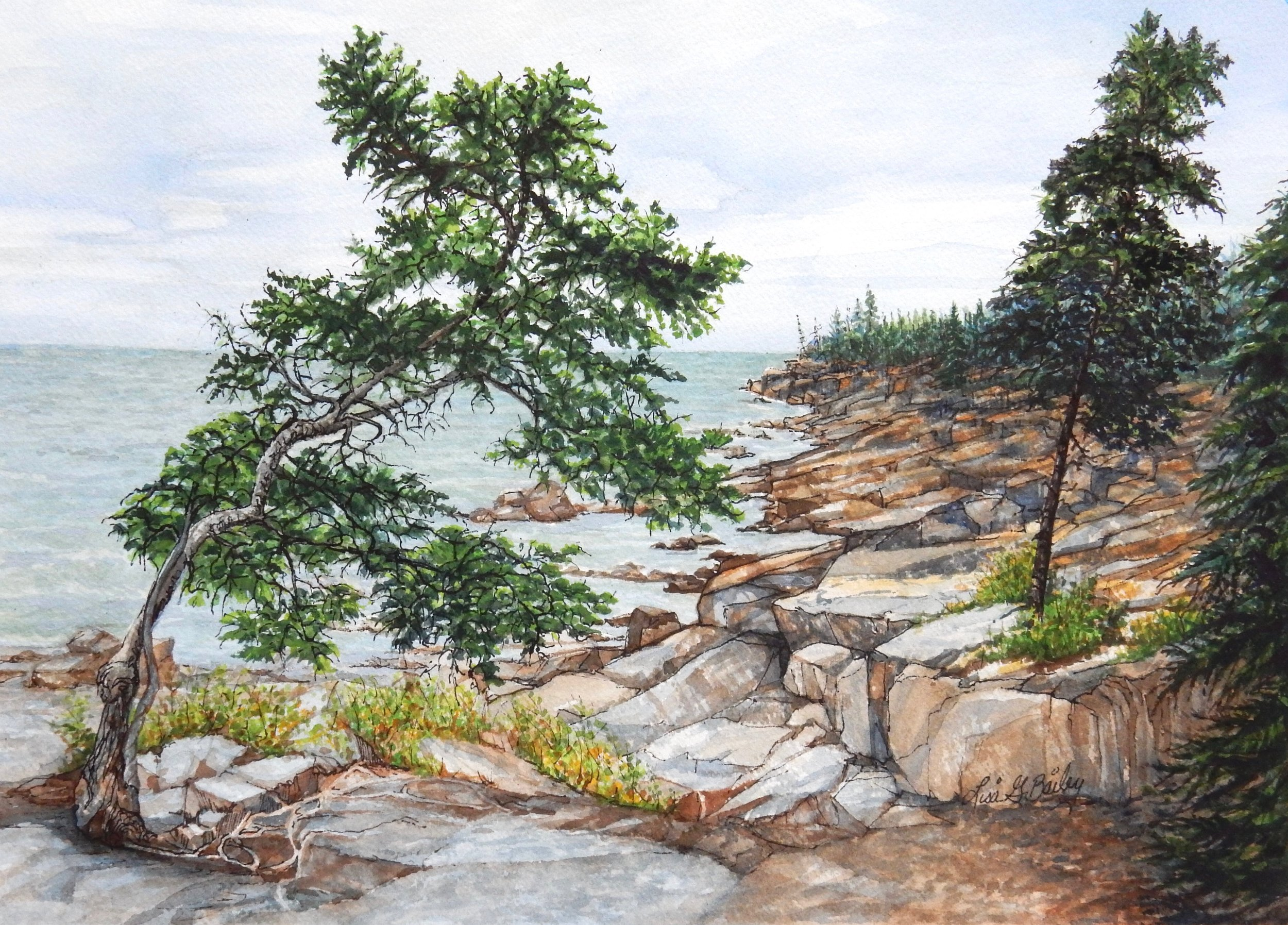 Lisa G Bailey.watercolor.Bedrock Beach