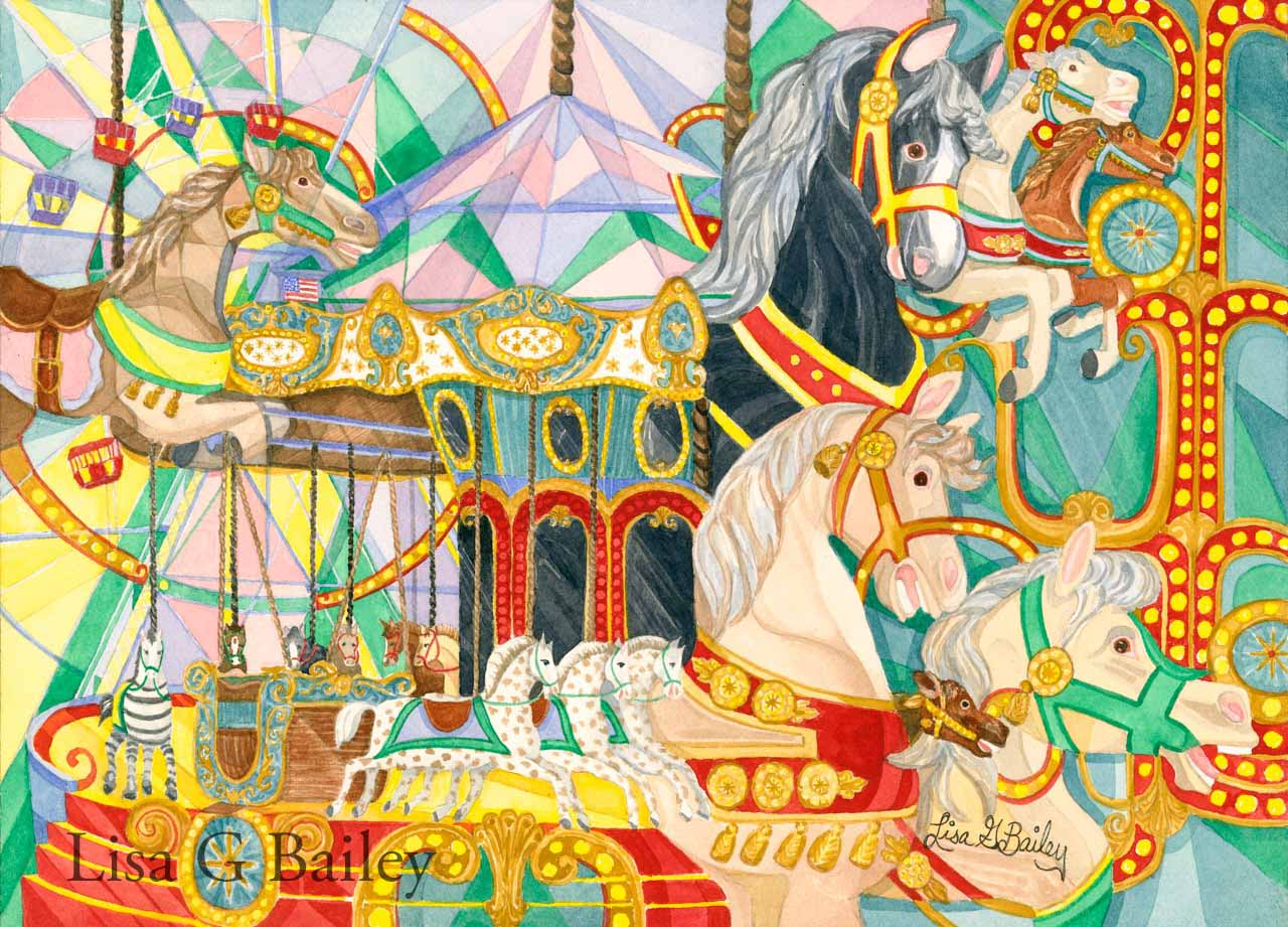 Carousel Dream. watercolor