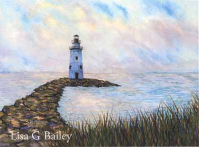 Saybrook Breakwater Light. watercolor