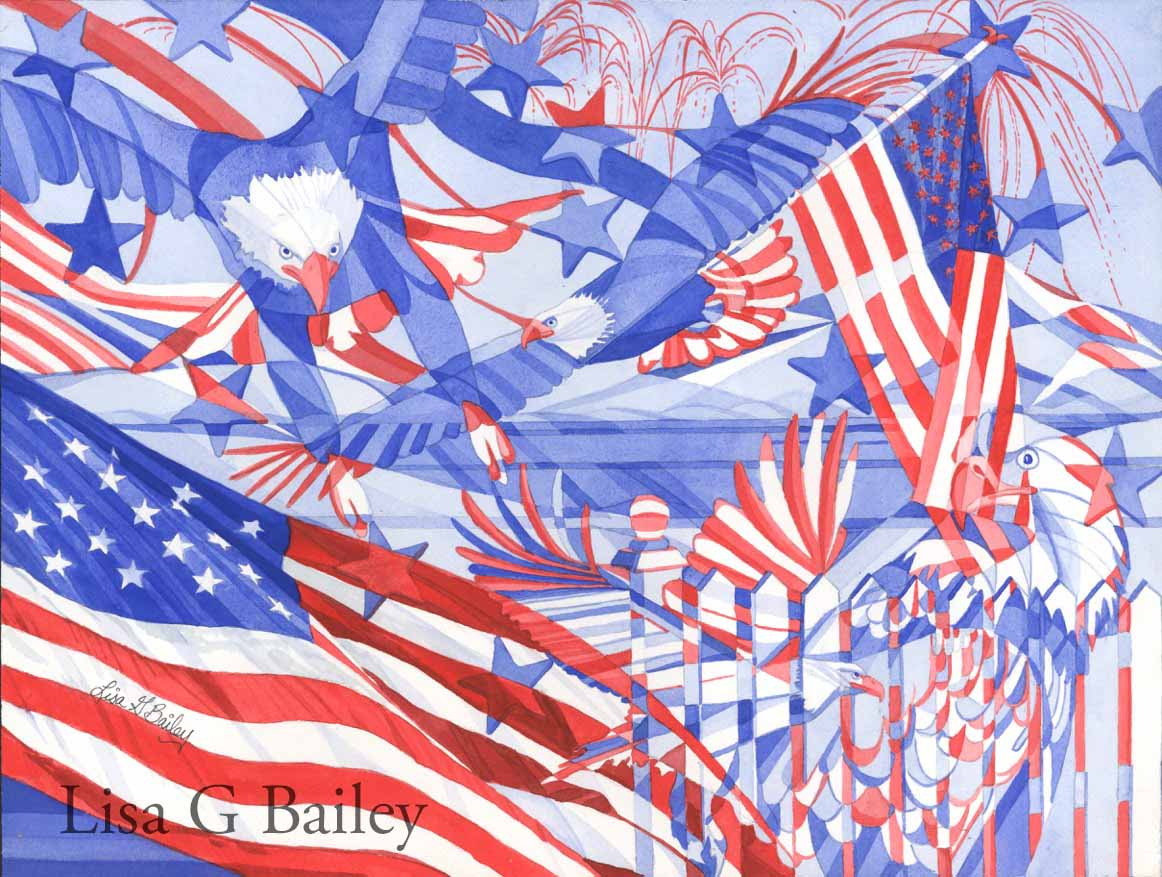Lisa G Bailey.Red White and Blue.colorweave watercolor