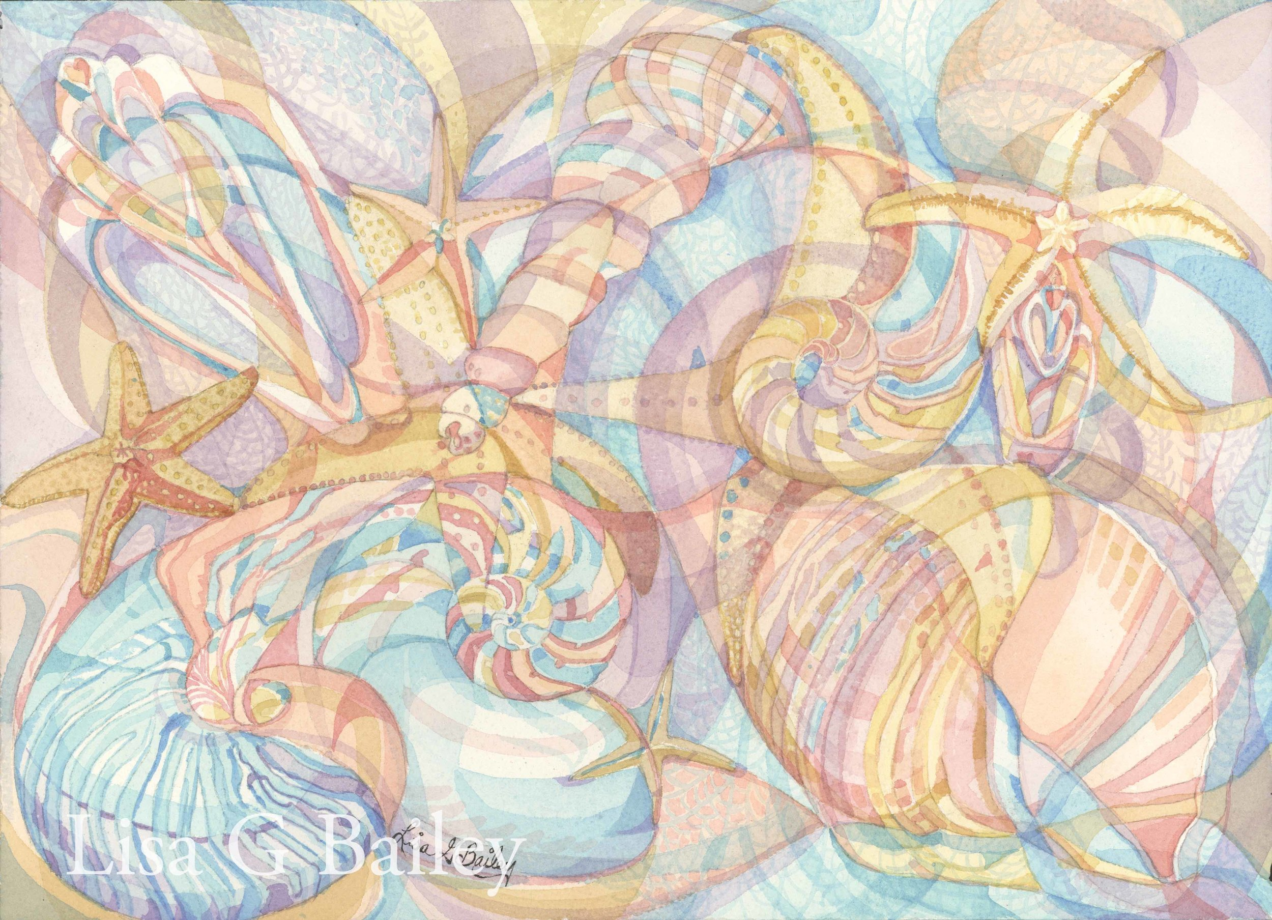 Lisa G Bailey. Seashore Collection.colorweave watercolor