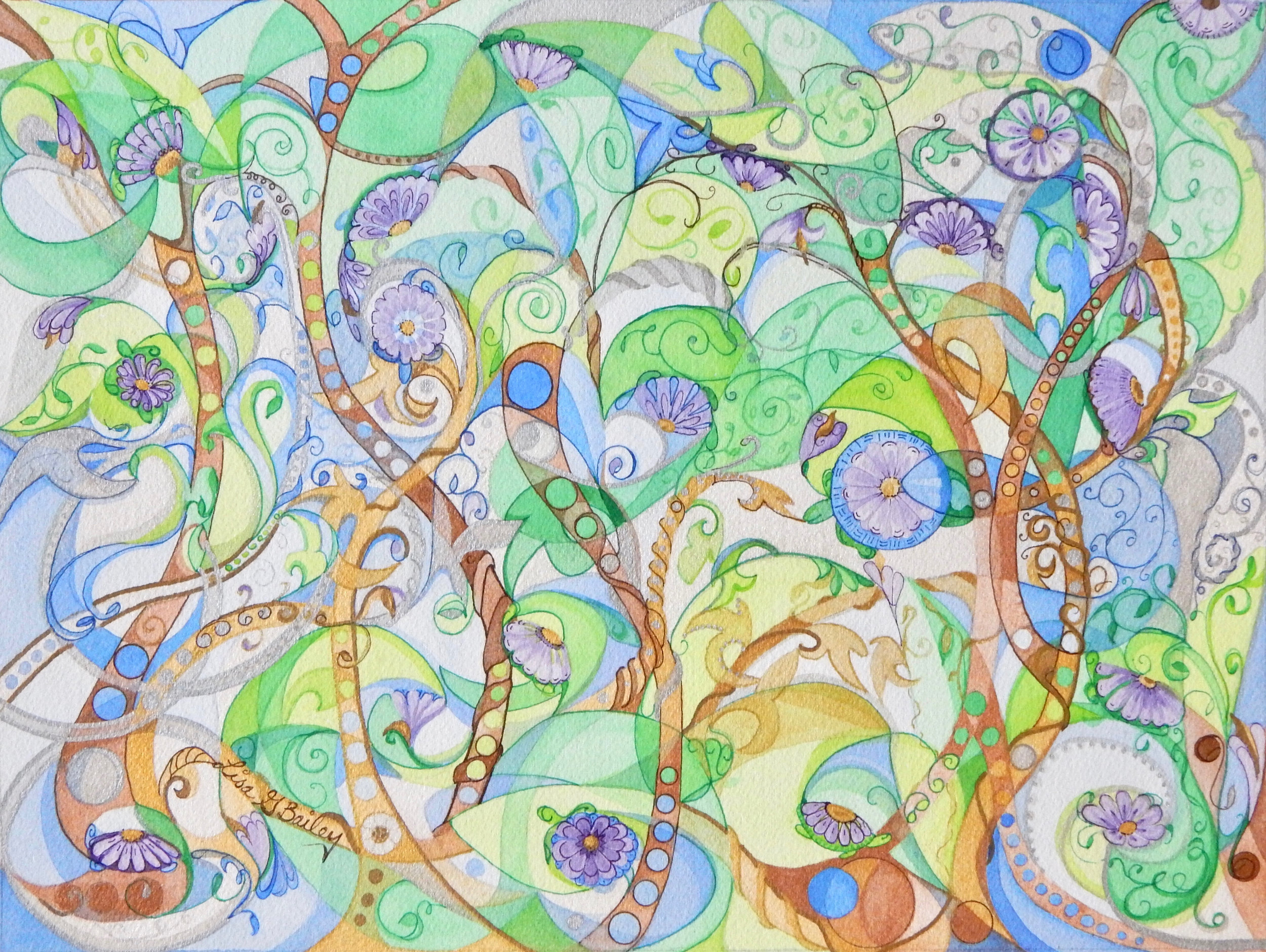 Lisa G Bailey.Entangled. colorweave watercolor