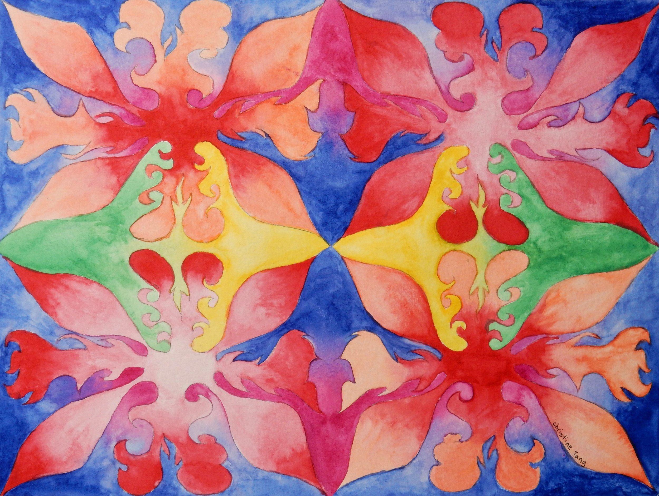Christine Tang. 13 yrs.watercolor motif
