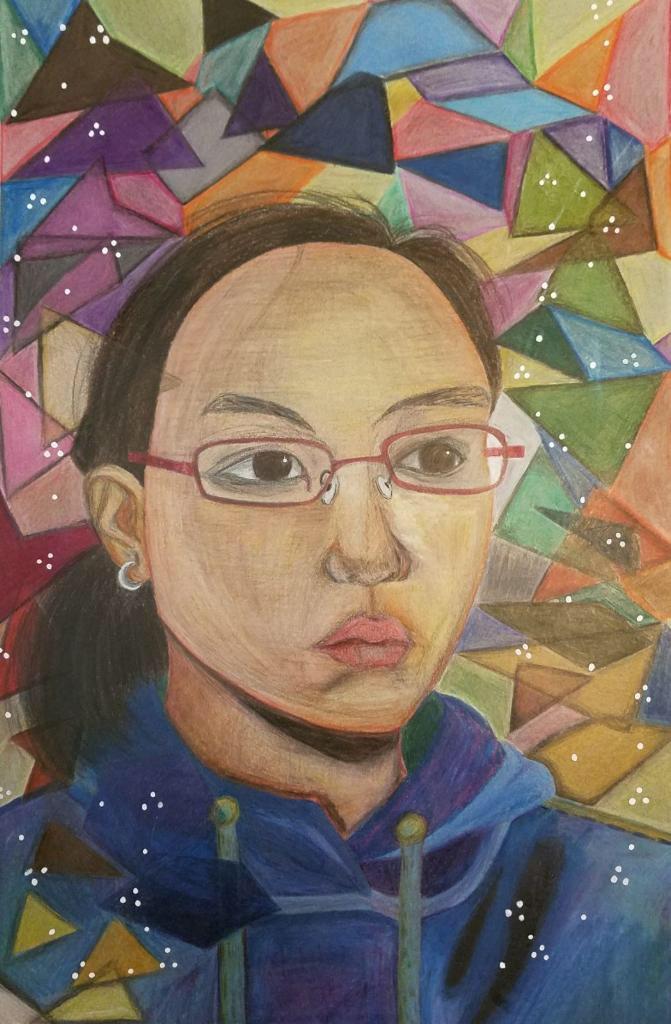Elizabeth Tang. Self-Portrait. colored pencil