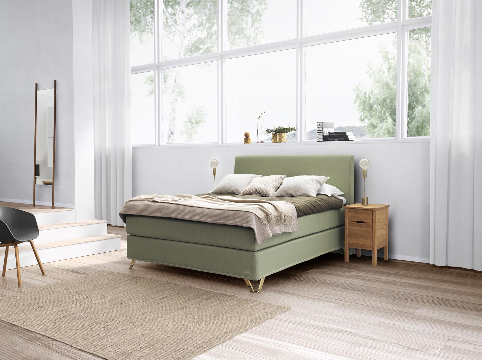 Tekstilet  Fairy green    på seng fra Jensen.