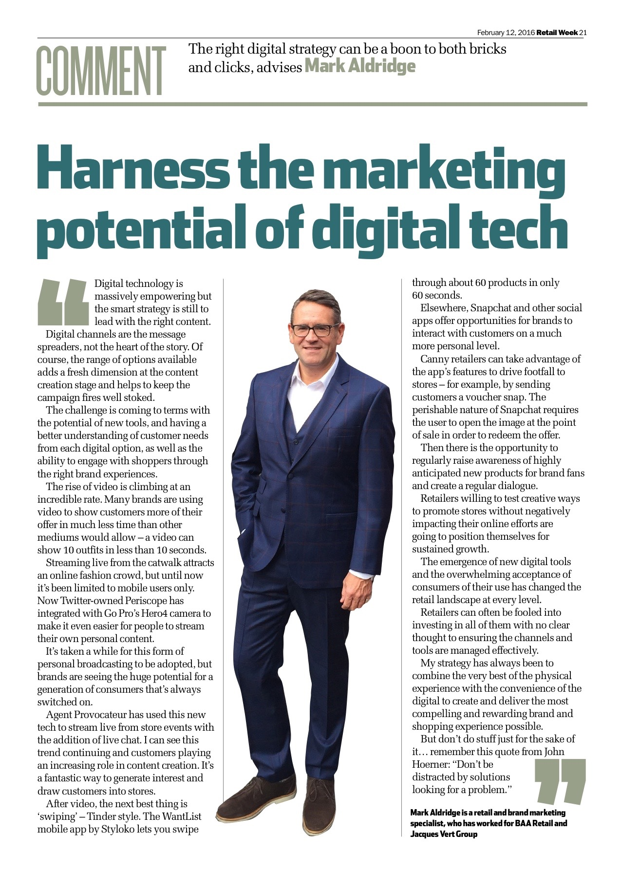 Harness the marketing potential of digital tech – Retail Week February 2016