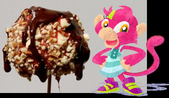 Milly monkey loves yummy scrummy toffee apples!!