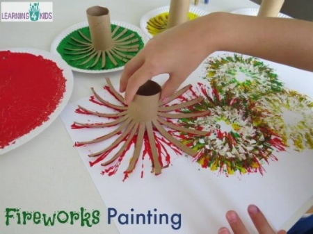 Kids Craft Activities - New Year Fireworks Painting