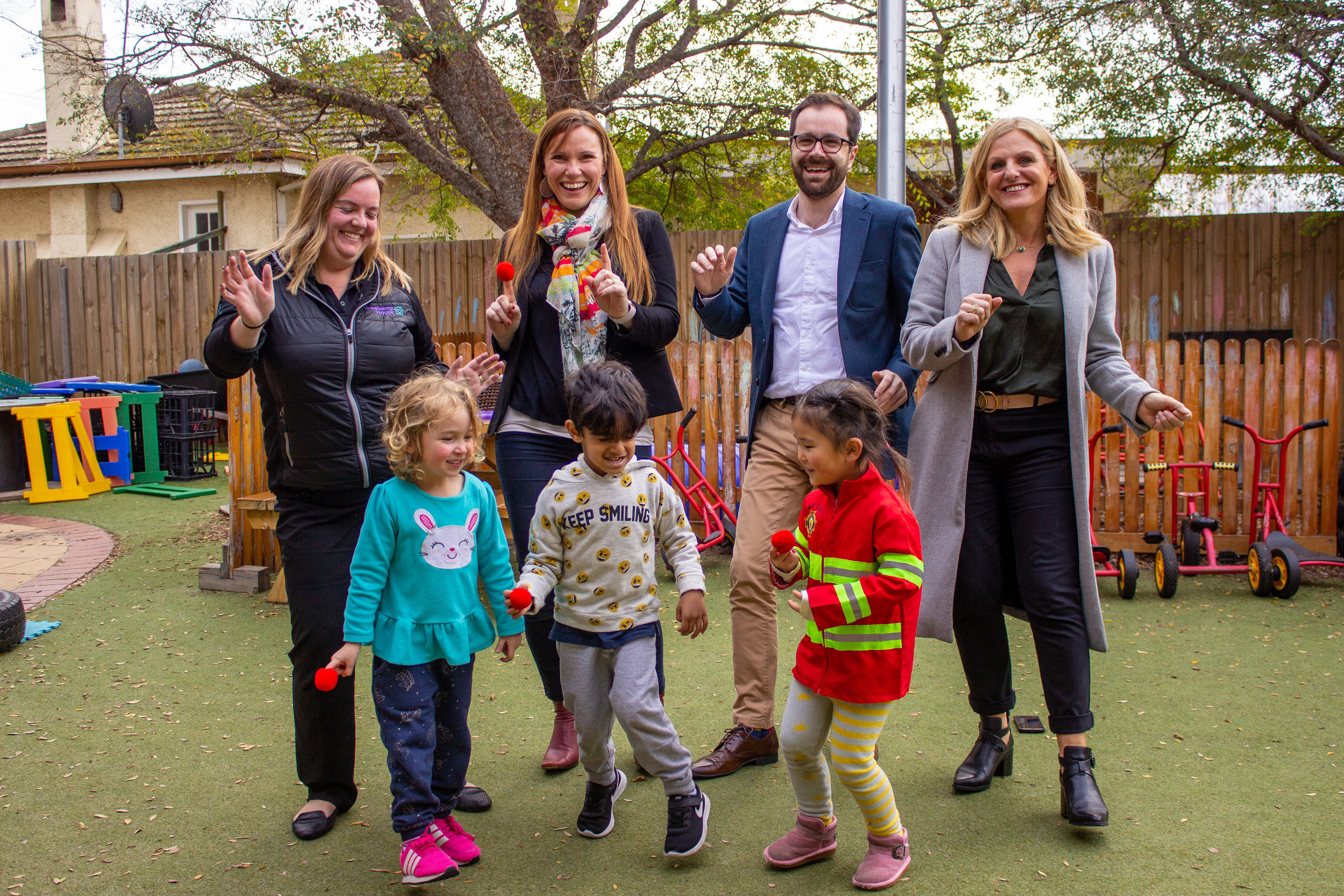 Nick Staikos, Bentleigh MP, dances with Sarah, Little Rockers Radio founder and Keren Ludski, CEO Red Nose, while announcing Andrews Labor Government support of the Little Rockers Radio Red Nose Disco