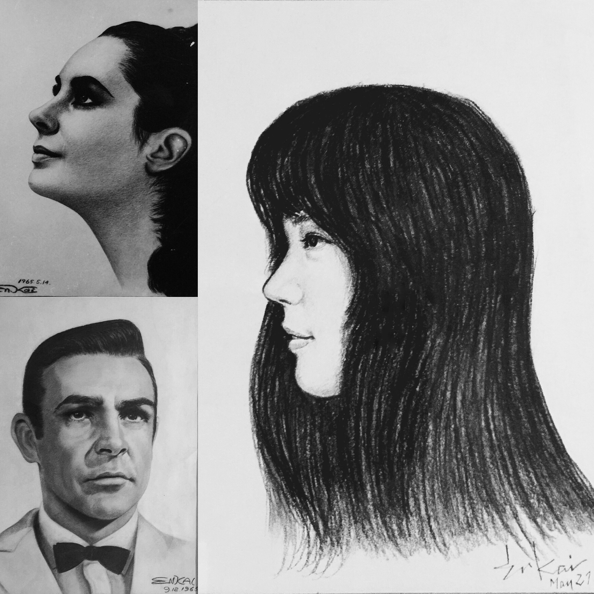 A few pieces of my father's portraits including one of my mom (the one that isn't Liz Taylor).