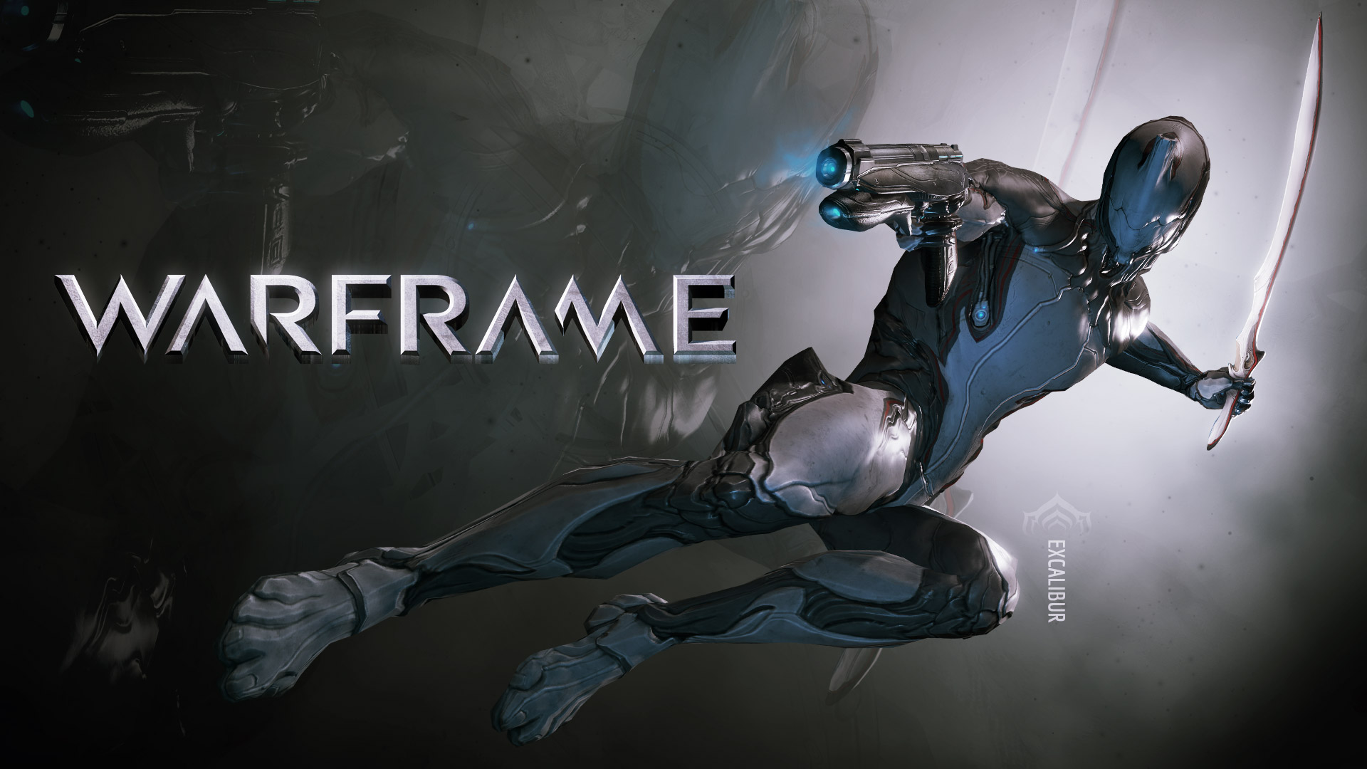 Excalibur. One of three Warframe choices presented to you when you start the game