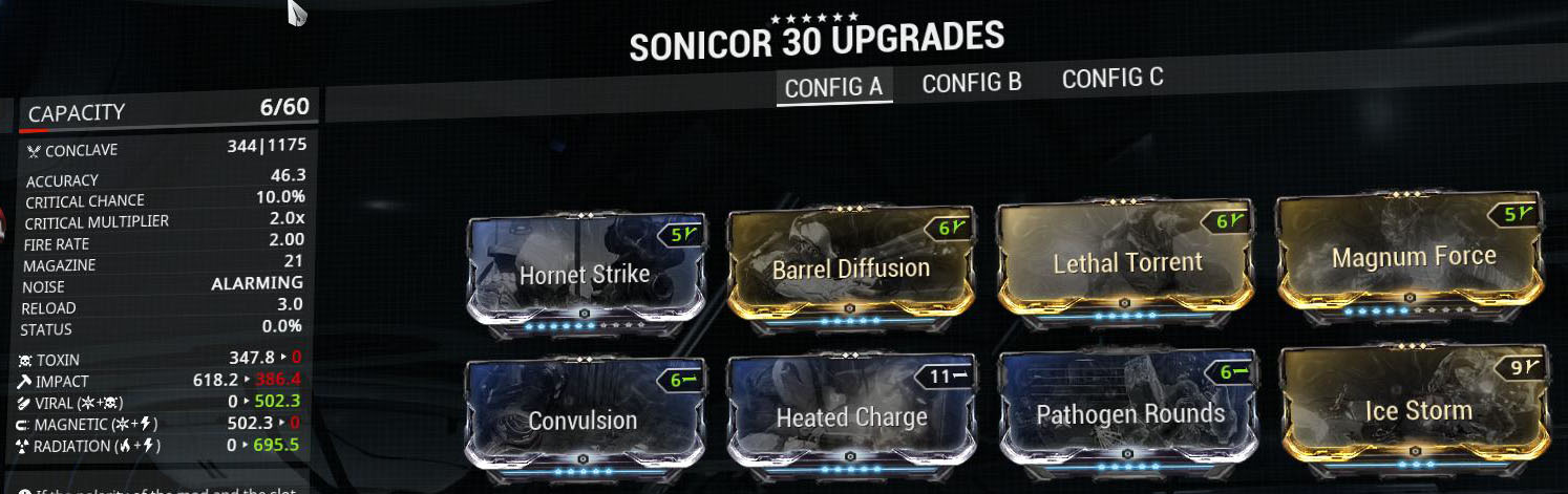 One of my favourite Secondaries in the game, The Sonicor with 6 Formas!