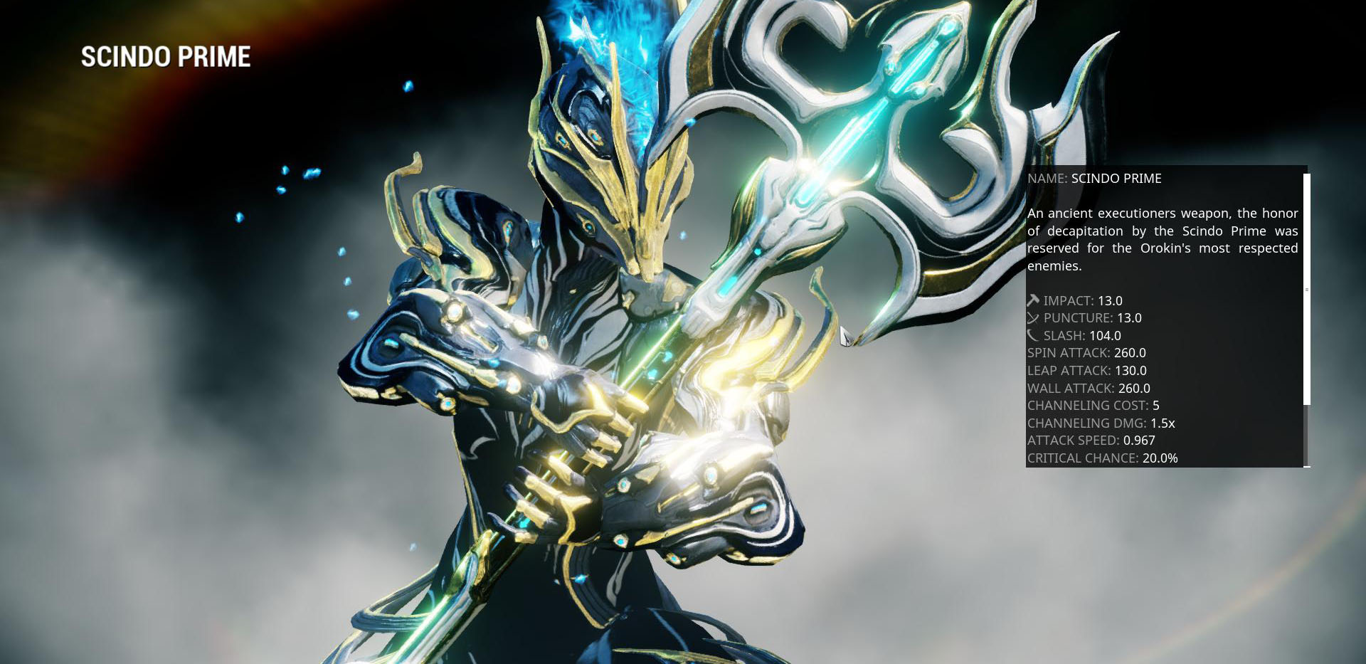 The Scindo Prime. The hardest hitting Melee weapon in the game.