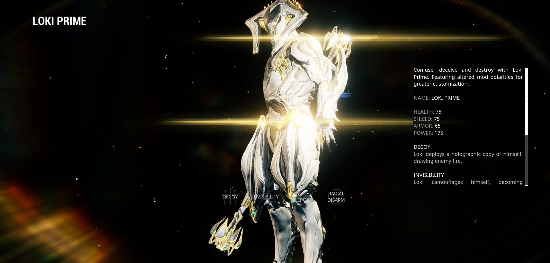 Loki Prime, one of the stealth based Warframes featured in the game.