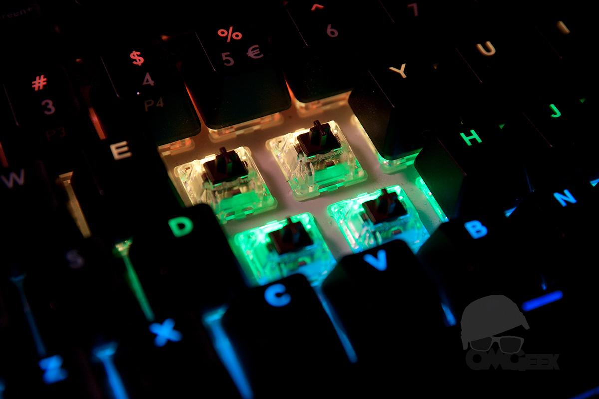 Cherry MX switches with bright LEDs.