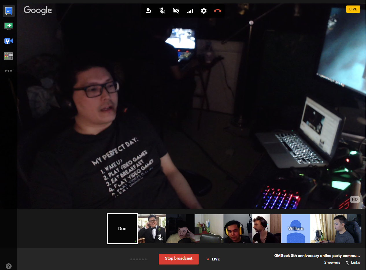 Our online LAN party via Google Hangouts, streamed to Twitch and Discord. Note: Don's favourite t-shirt and his ultimate gaming room setup, that's another OMGeek Kenny behind him playing The Division.