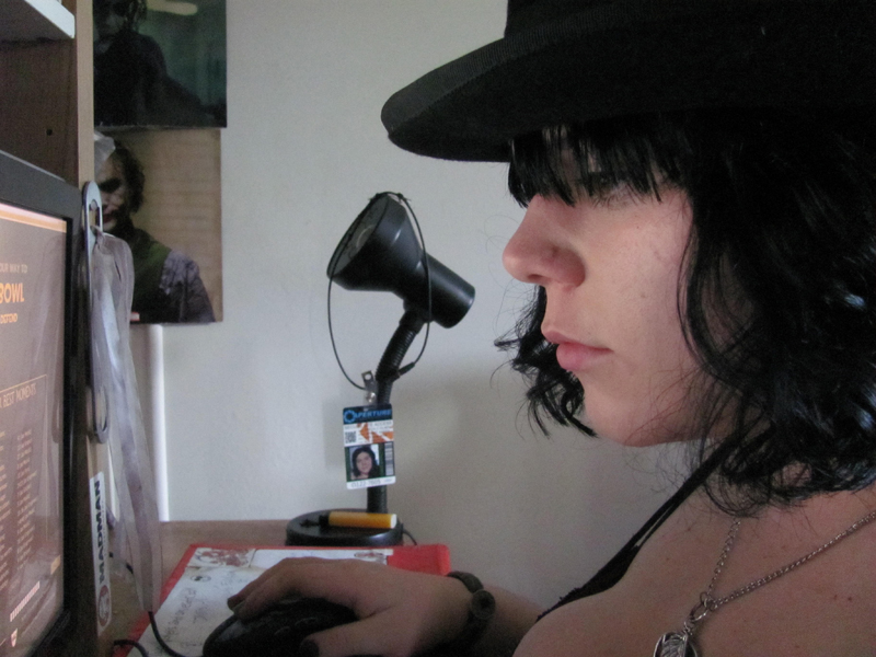 Getting my Team Fortress Two on. The scar on my nose is from a piercing. I still have the scar- but it is a lot smaller.