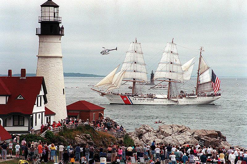TheUSCGCEagle at Portland Headlight. Photoby David MacDonald, Friday, July 28, 2000. © Portland Press Herald