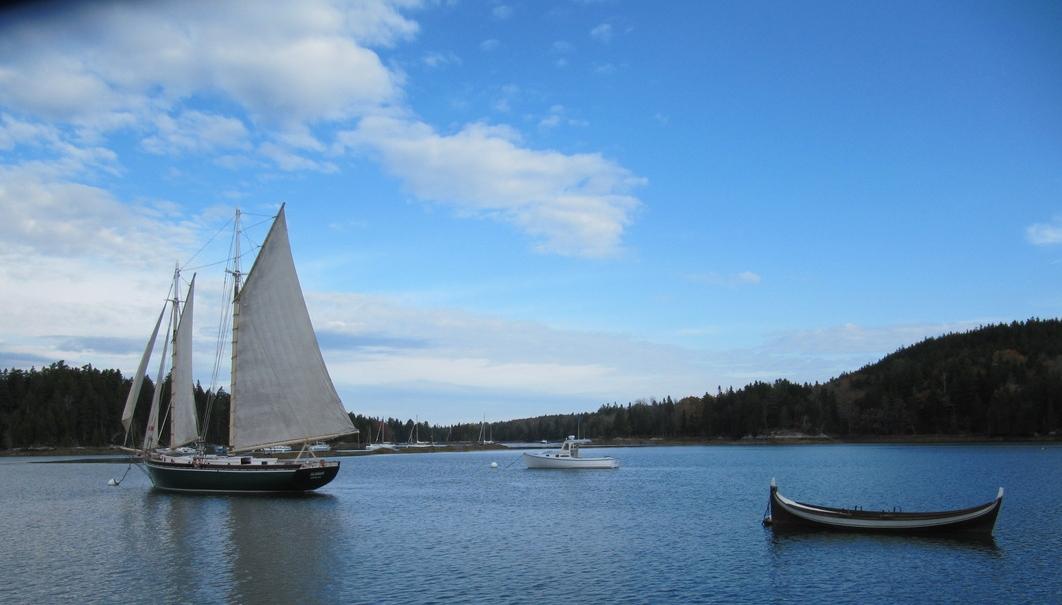 The Schooner  alamar,  at her mooring in bucks harbor, Maine.