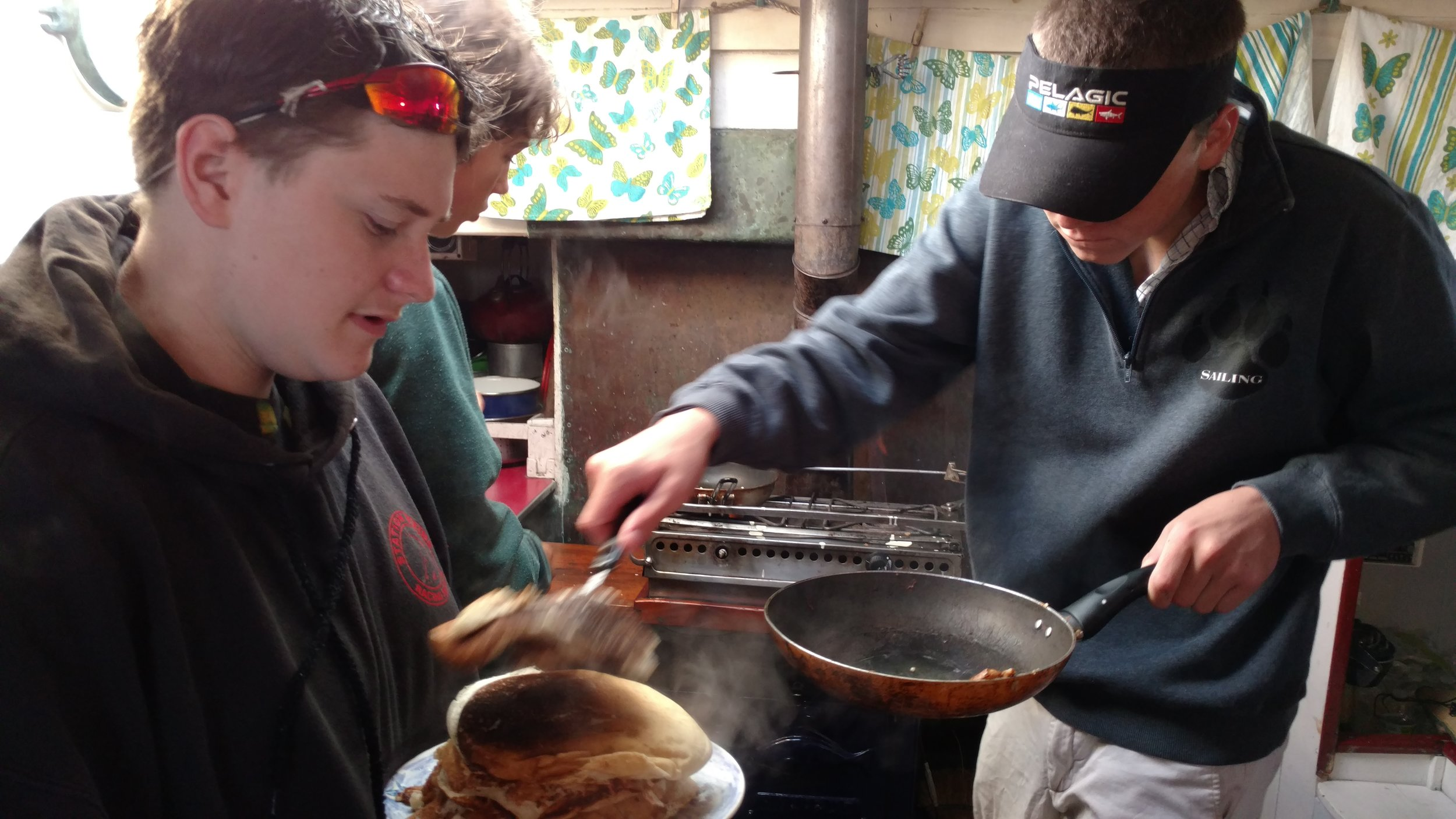starboard watch makes breakfast for the entire crew aboard  Alamar