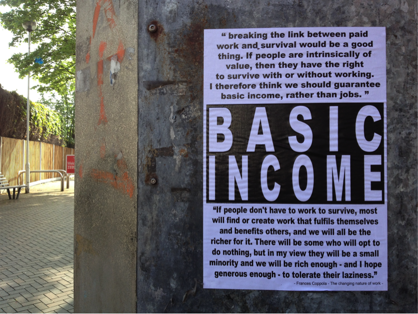 Poster calling for basic income. Credit: Russel Shaw Higgs/Flickr
